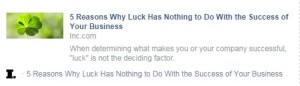 Luck Has Nothing to Do with the Success of Your Business